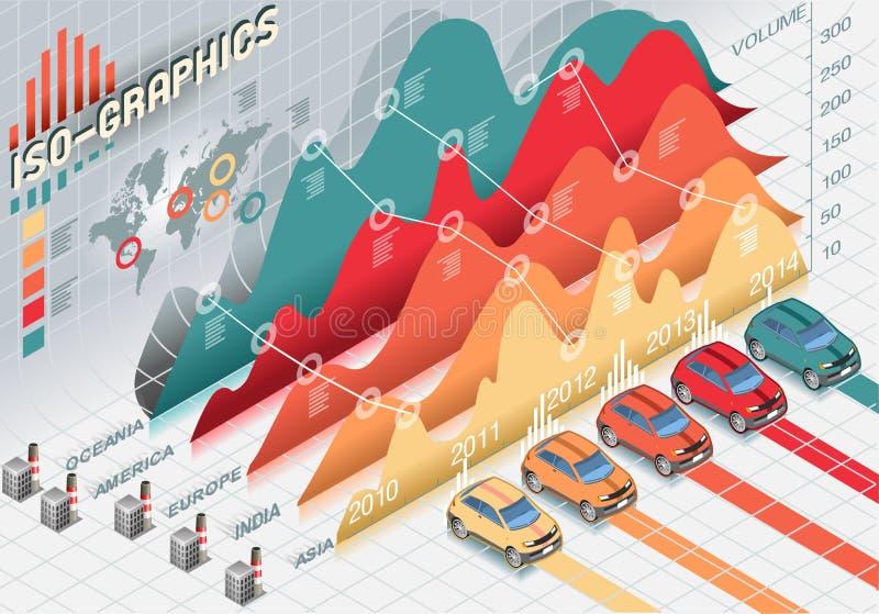 Elementos ajustados isométricos de Infographic com transparência ilustração royalty free