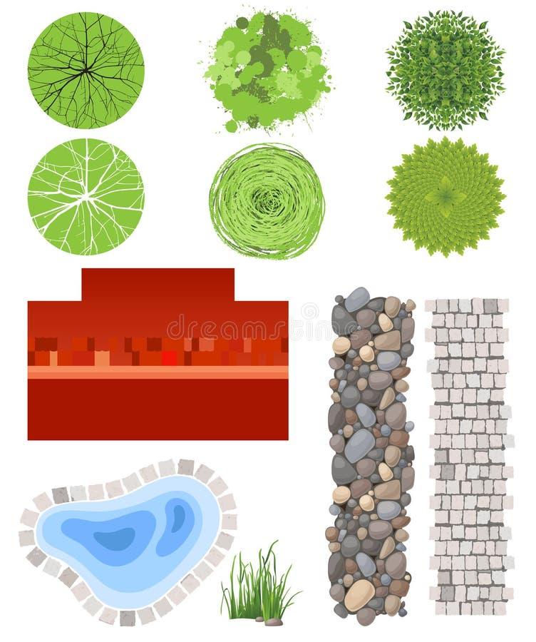 Elementos do projeto da paisagem ilustração royalty free