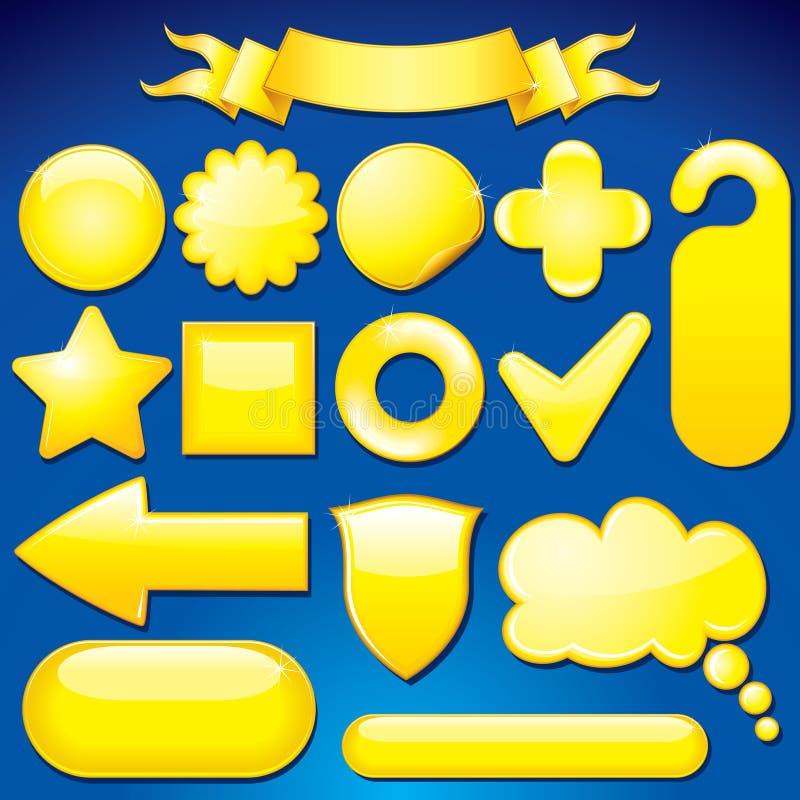 Elementos amarelos do projeto ilustração royalty free