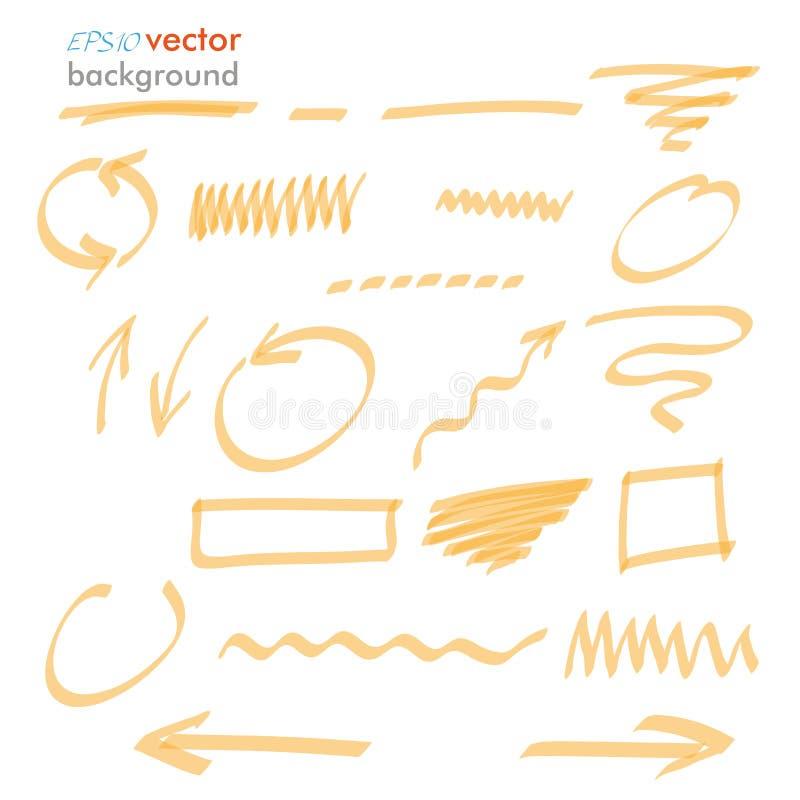 Elementos anaranjados del Highlighter ilustración del vector