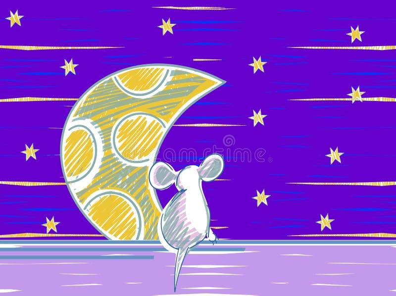 Elementos animais do tema dos desenhos animados do rato Noite da luz das estrelas ilustração stock