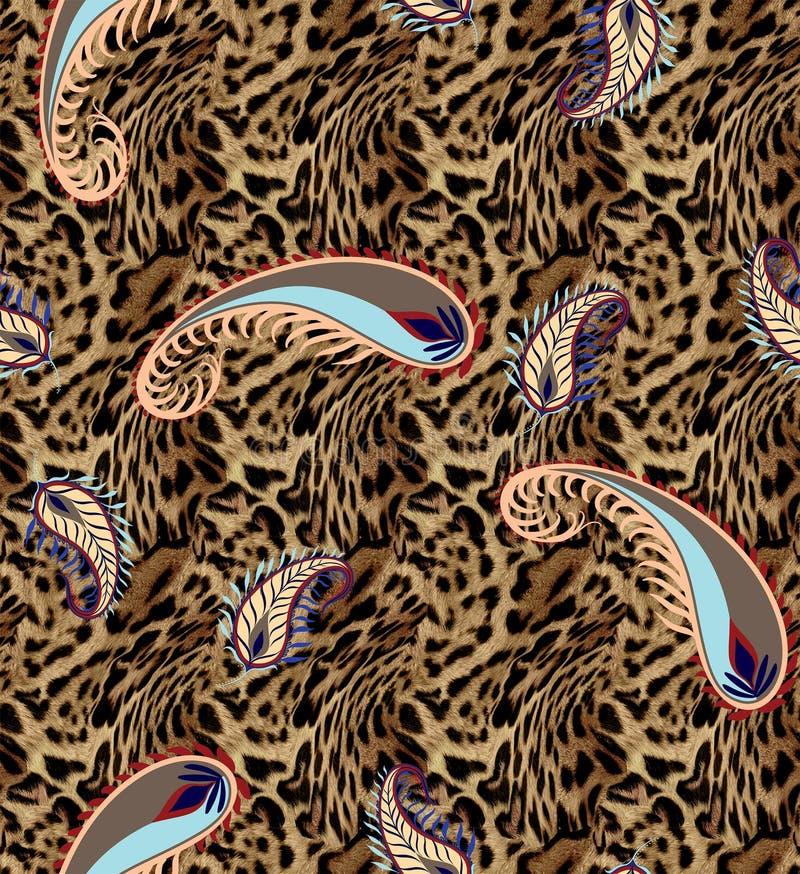 Elementos animais sem emenda do projeto do leopardo ilustração do vetor