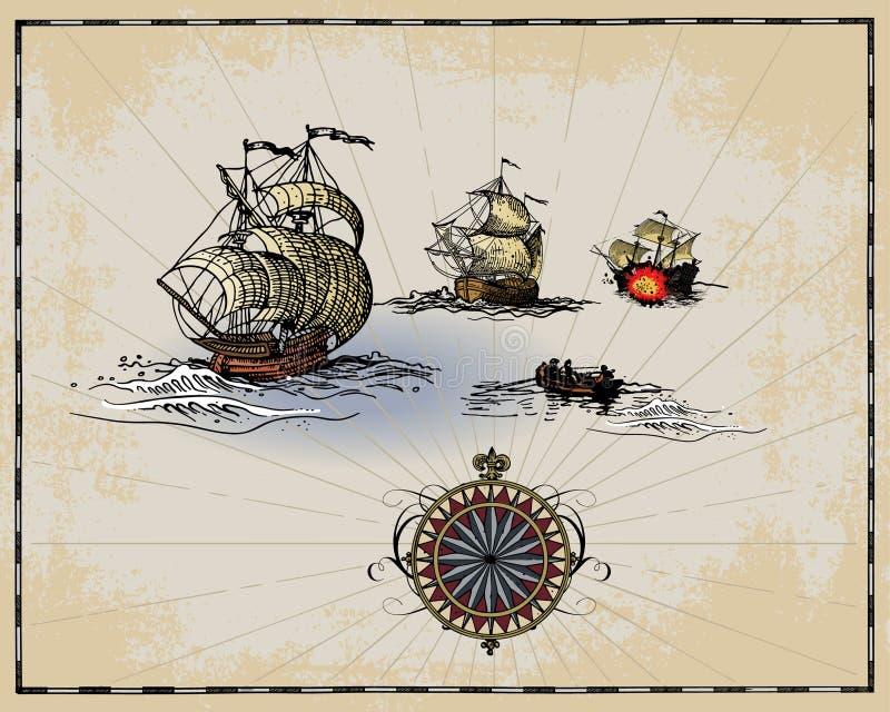 Elementos antigos do mapa ilustração stock