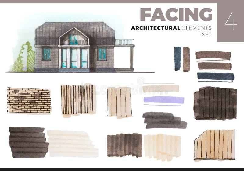 Elementos arquitectónicos con la casa en blanco stock de ilustración