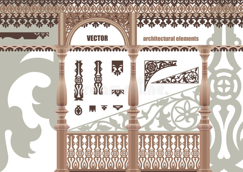 Elementos Arquitectónicos Tallados Vector Imagen de archivo libre de regalías