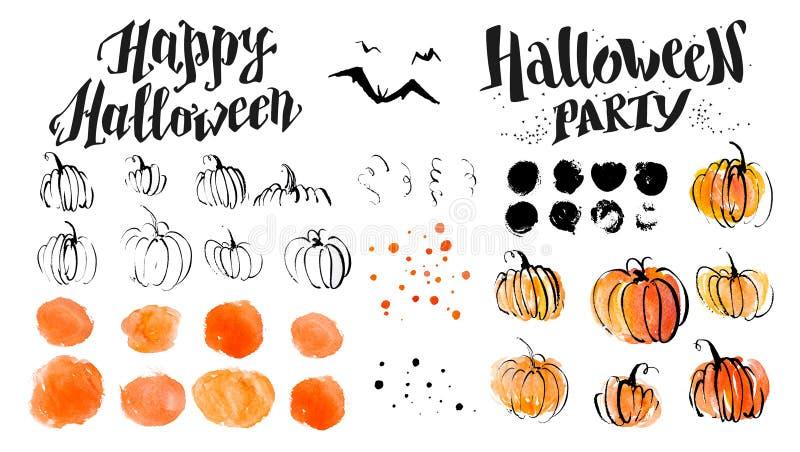 Elementos artísticos dibujados mano de la decoración de la calabaza y del horror de la acuarela de Halloween en el fondo blanco stock de ilustración