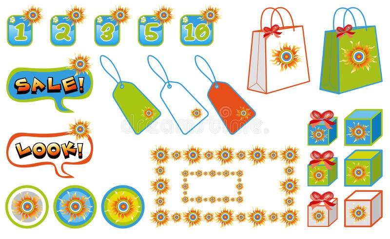 Elementos asoleados de la venta de las compras libre illustration