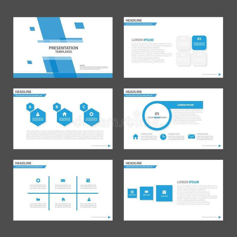 Elementos azuis de Infographic do molde da apresentação do polígono e flye ajustado do folheto do mercado da propaganda do projet ilustração do vetor