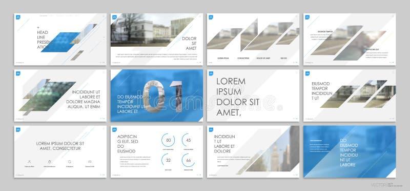 Elementos azules de las plantillas de la presentación en un fondo blanco ilustración del vector