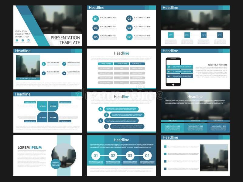 Elementos azules de las plantillas de la presentación en un fondo blanco Infographics del vector Uso en la presentación, el aviad ilustración del vector