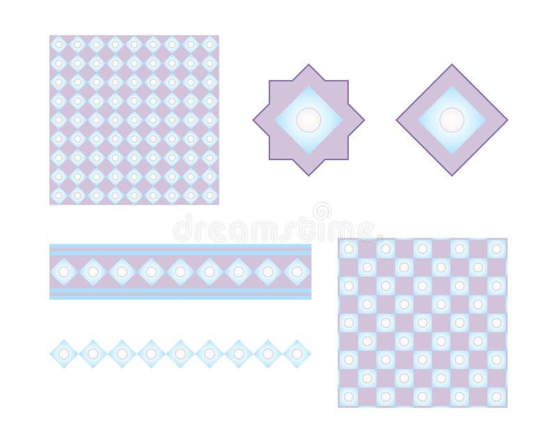 Elementos azules del libro de recuerdos stock de ilustración