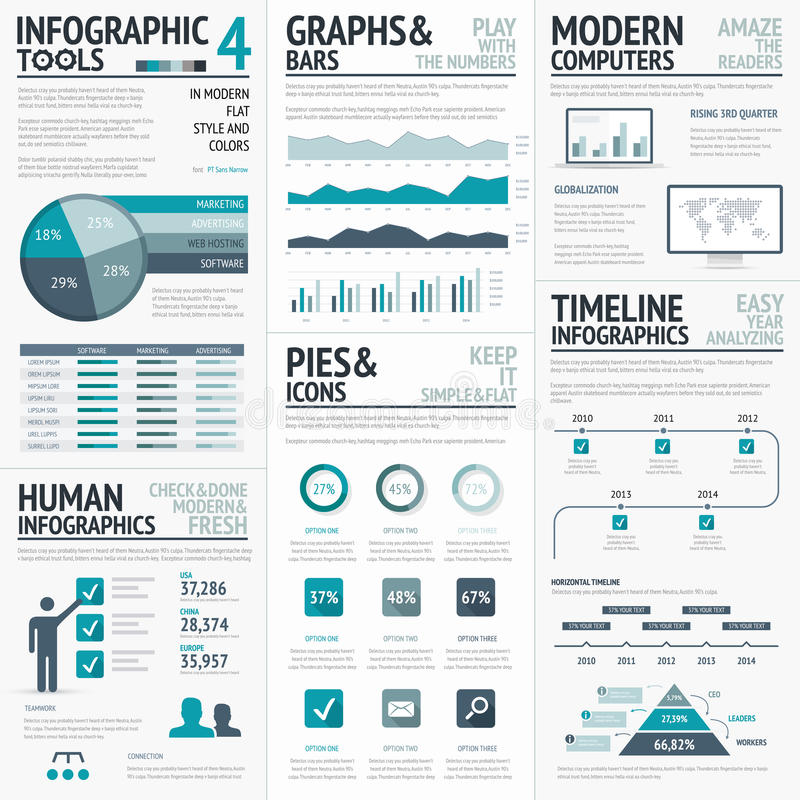 Elementos azules del vector del infographics para los infographs del negocio ilustración del vector