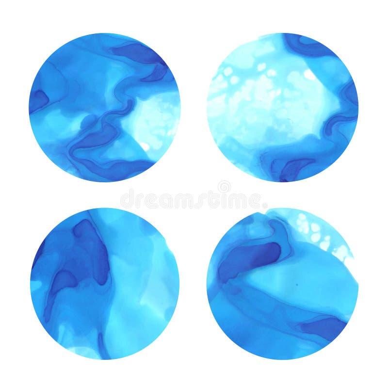 Elementos azules hermosos del diseño del círculo del extracto de la acuarela fotos de archivo libres de regalías