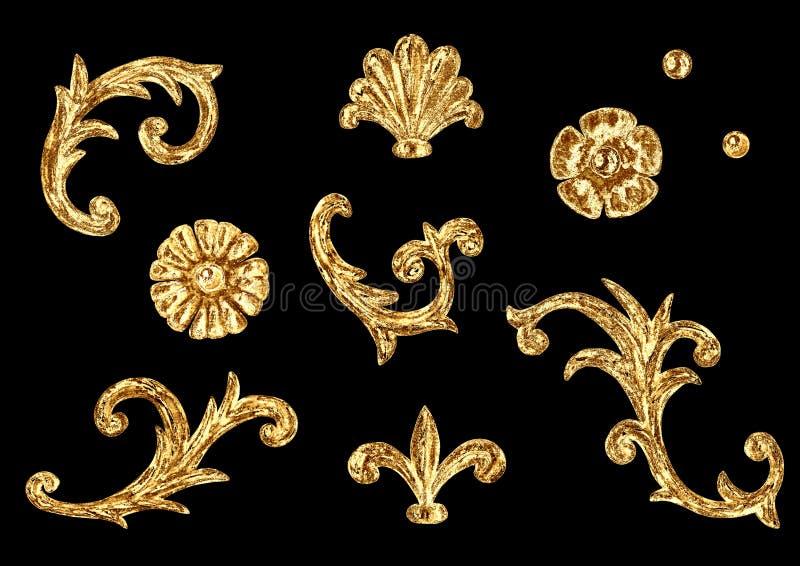 Elementos barrocos del estilo Vintage exhausto de la mano de la acuarela que graba el sistema afiligranado del dise?o del marco d ilustración del vector