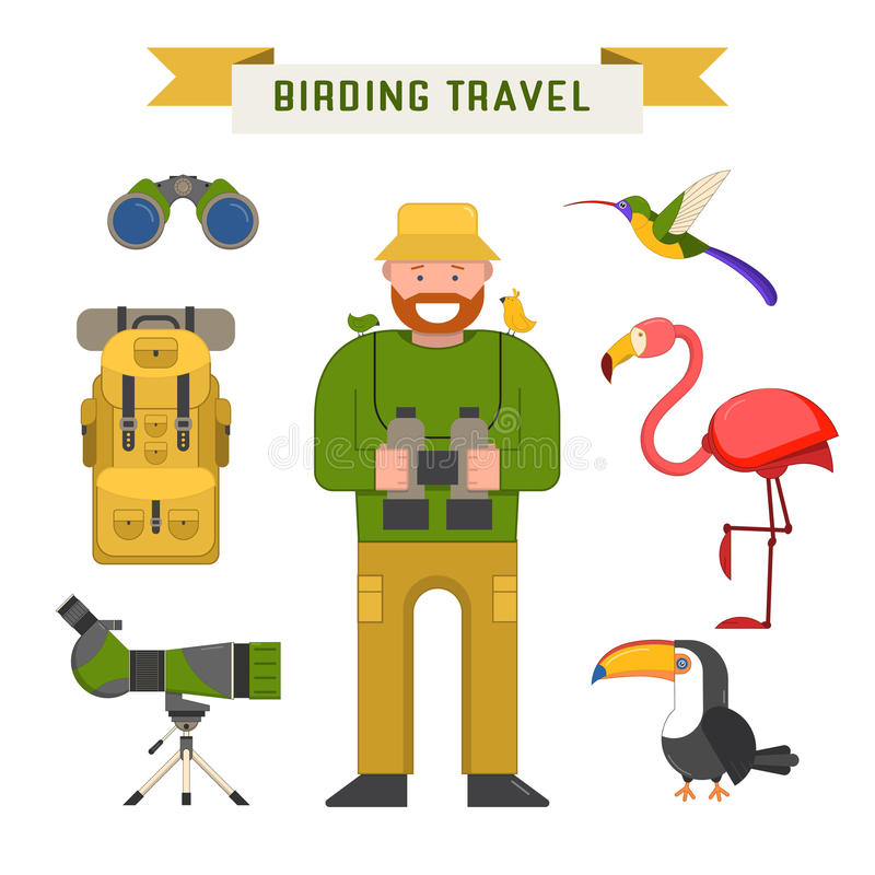 Elementos Birdwatching del vector del viaje libre illustration