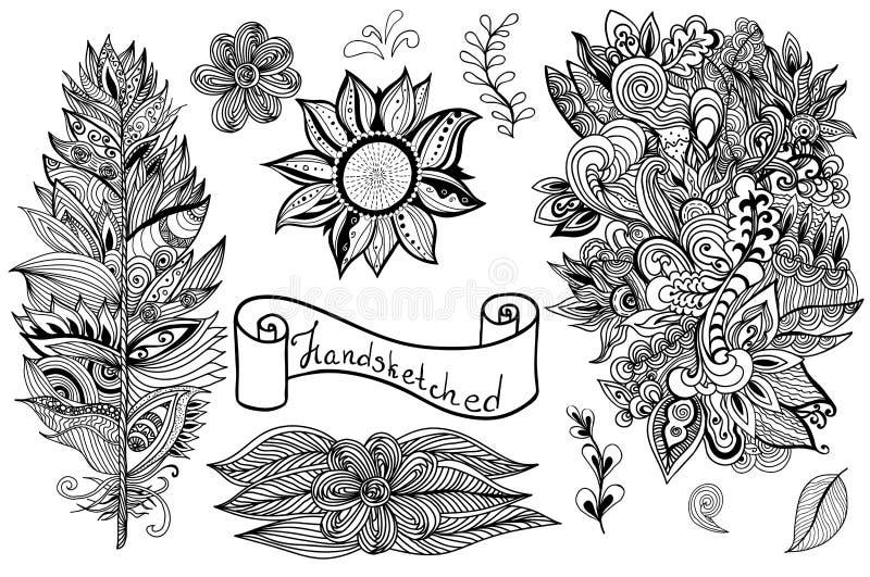 Elementos blancos negros dibujados mano del diseño del vector stock de ilustración