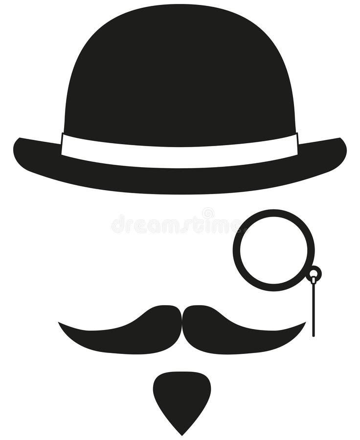 Elementos blancos y negros de la silueta del avatar del inconformista stock de ilustración