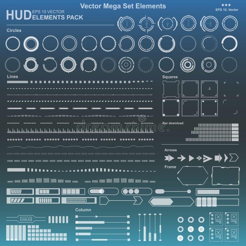 Elementos blancos y negros determinados del interfaz de HUD, líneas, círculos, indicadores, marcos para las aplicaciones web, ele stock de ilustración