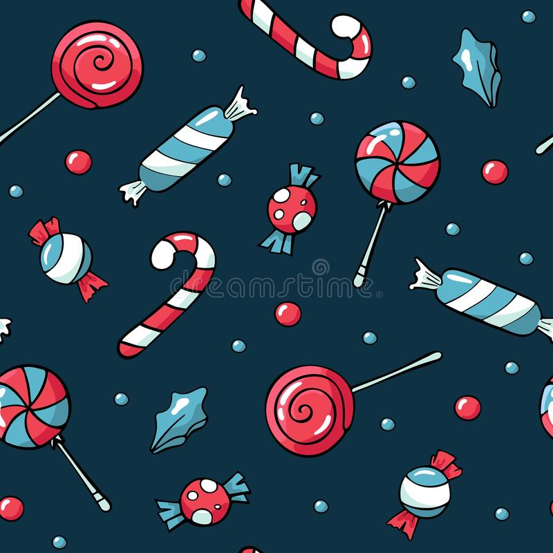 Elementos bonitos do Natal das garatujas Ilustra??o desenhada m?o do vetor Teste padr?o dos doces do Natal Projeto para impresso, ilustração royalty free