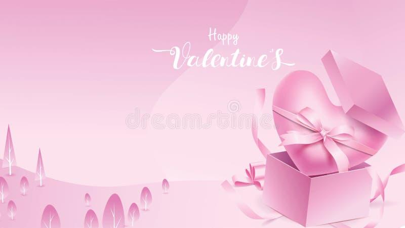 Elementos bonitos e doces na caixa da forma do presente e do coração amarrados pelo voo da fita no fundo cor-de-rosa Símbolos do  ilustração royalty free