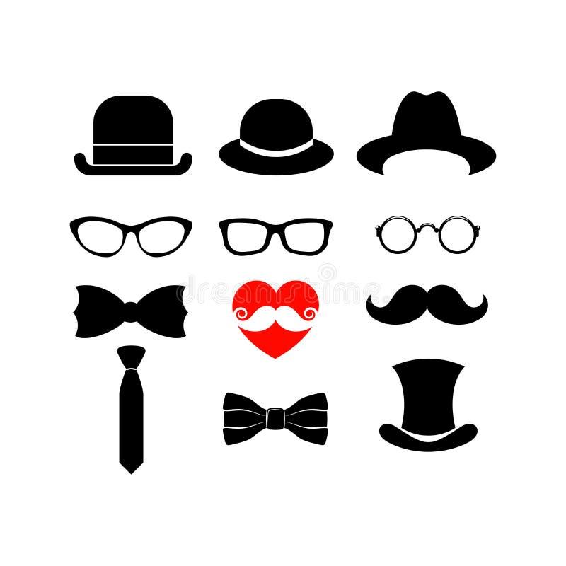 Elementos bonitos para cartões com uma barba, os bigodes, os chapéus e os óculos de sol ilustração stock