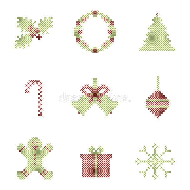 Elementos bordados Natal ilustração royalty free