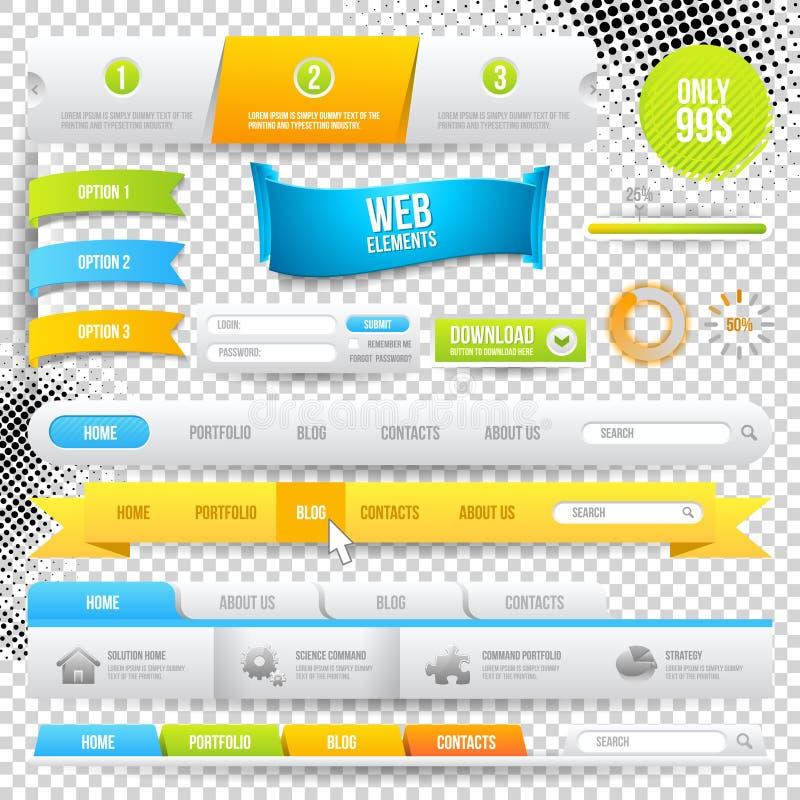 Elementos, botones y escrituras de la etiqueta del Web del vector stock de ilustración