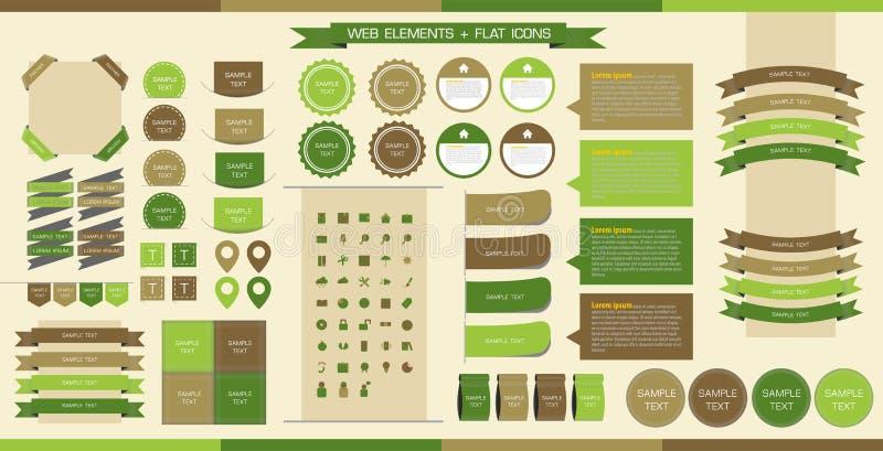 Elementos, botones y escrituras de la etiqueta del Web del vector Navegación de sitios, ic plano imágenes de archivo libres de regalías