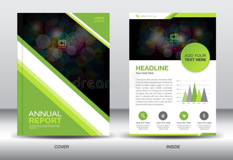 Elementos brancos verdes dos gráficos do molde e da informação do informe anual, co ilustração royalty free