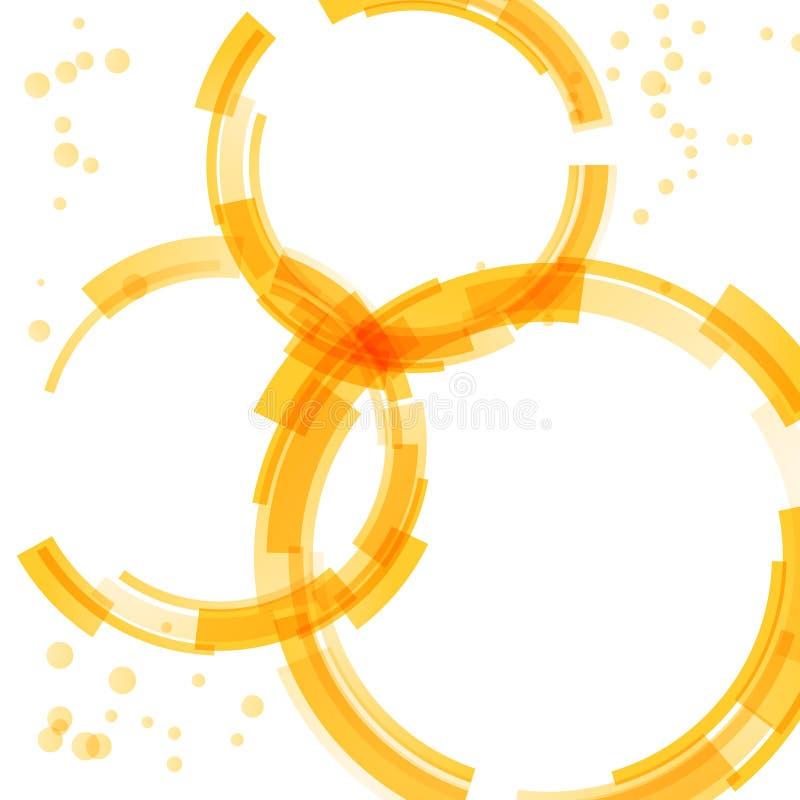 Elementos brilhantes alaranjados do projeto do círculo ilustração do vetor