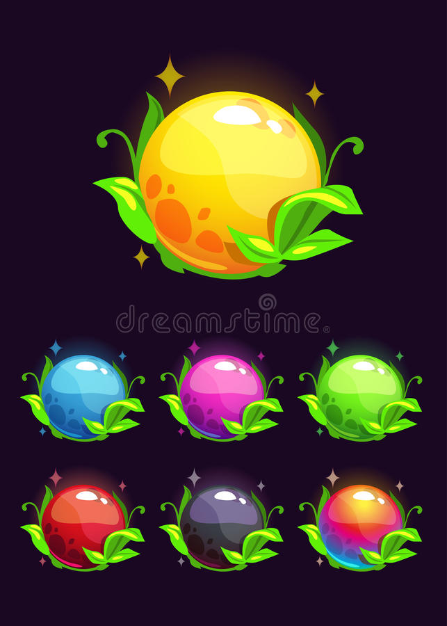Elementos brillantes coloridos hermosos de la naturaleza stock de ilustración