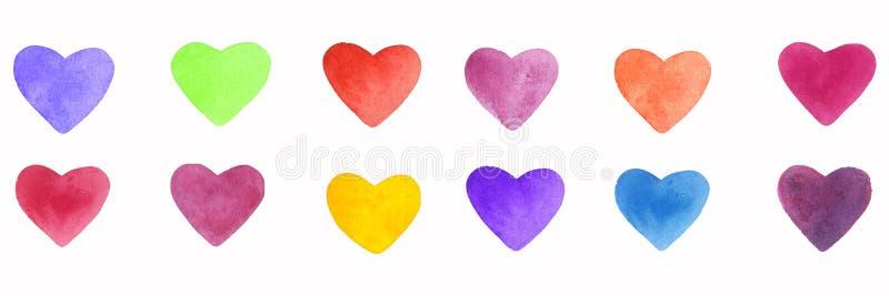 Elementos brillantes de la mano de la acuarela y coloridos exhaustos de los corazones stock de ilustración