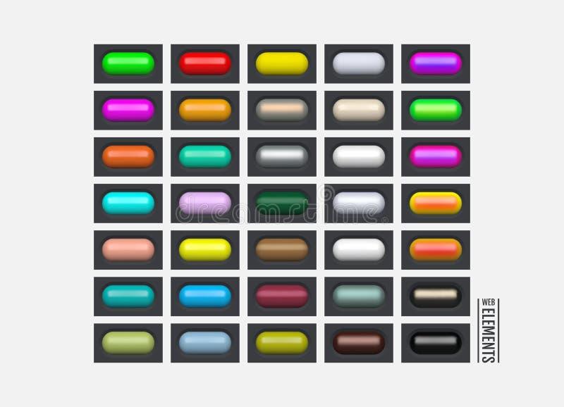Elementos brillantes del Web Botones ovales coloreados para su diseño iconos de cristal del menú 3d Ilustración del vector ilustración del vector