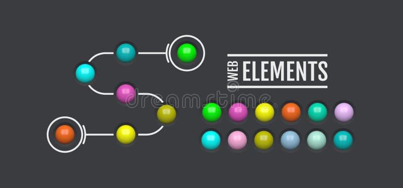 Elementos brillantes del Web Botones ovales coloreados para su diseño iconos de cristal del menú 3d Ilustración del vector stock de ilustración