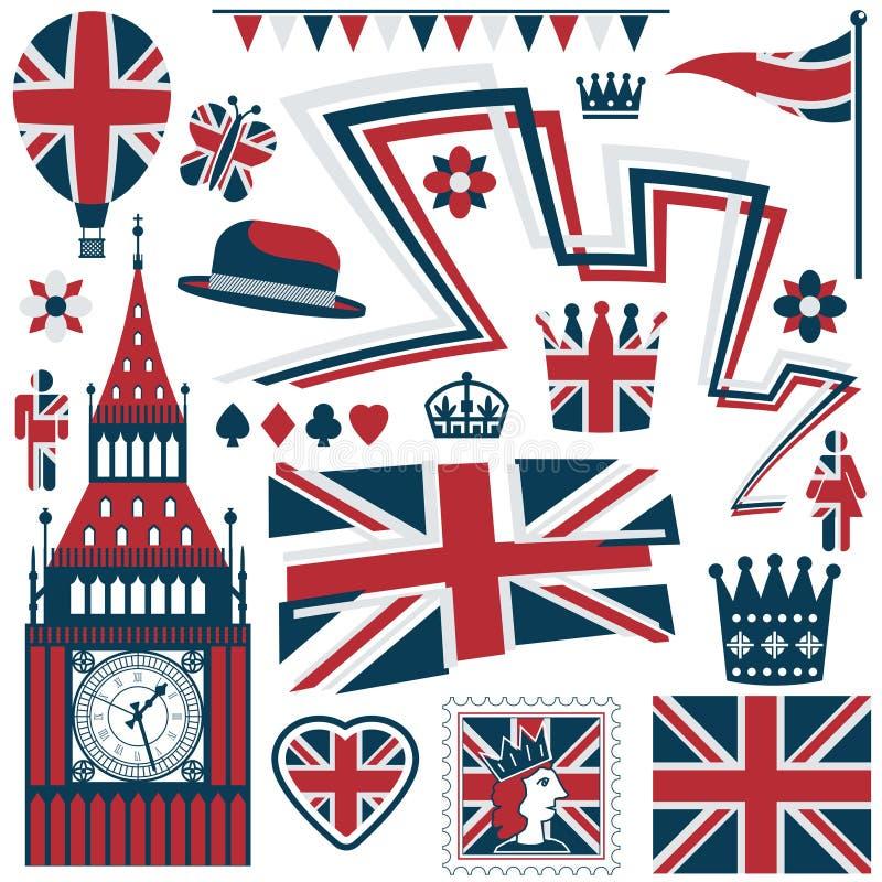 Elementos britânicos ilustração stock
