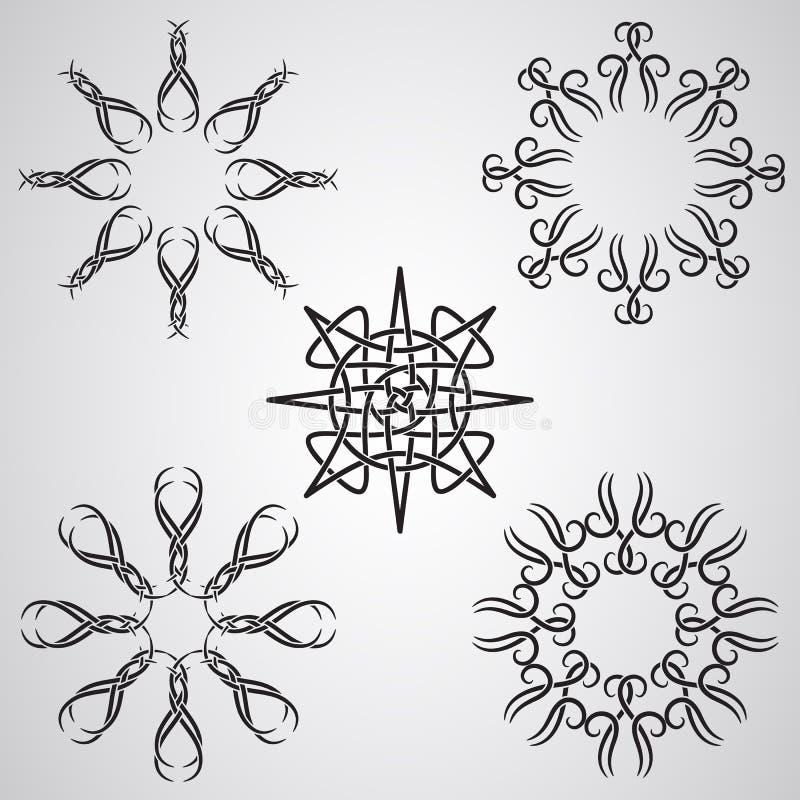 Elementos célticos de Sun del tatuaje del vector stock de ilustración