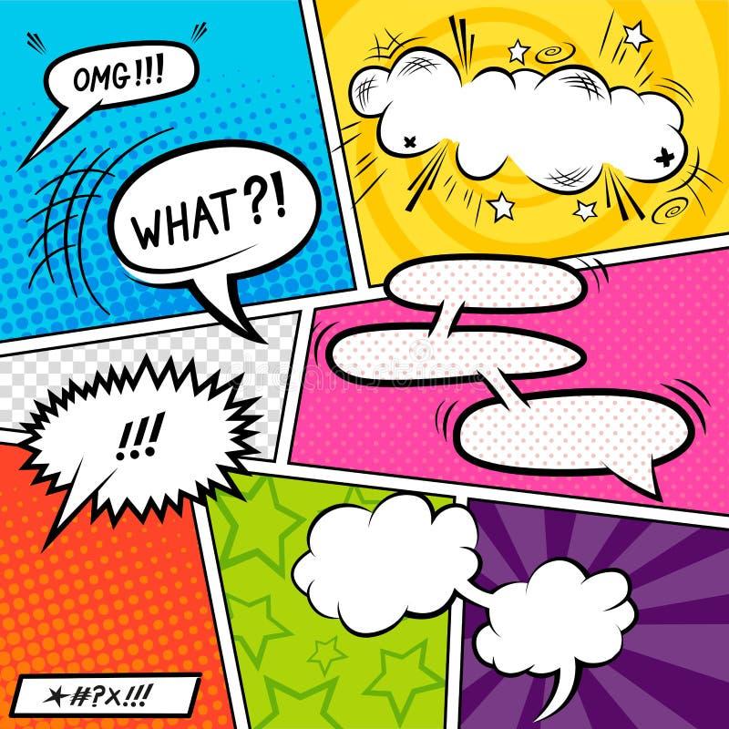 Elementos cómicos brillantes stock de ilustración