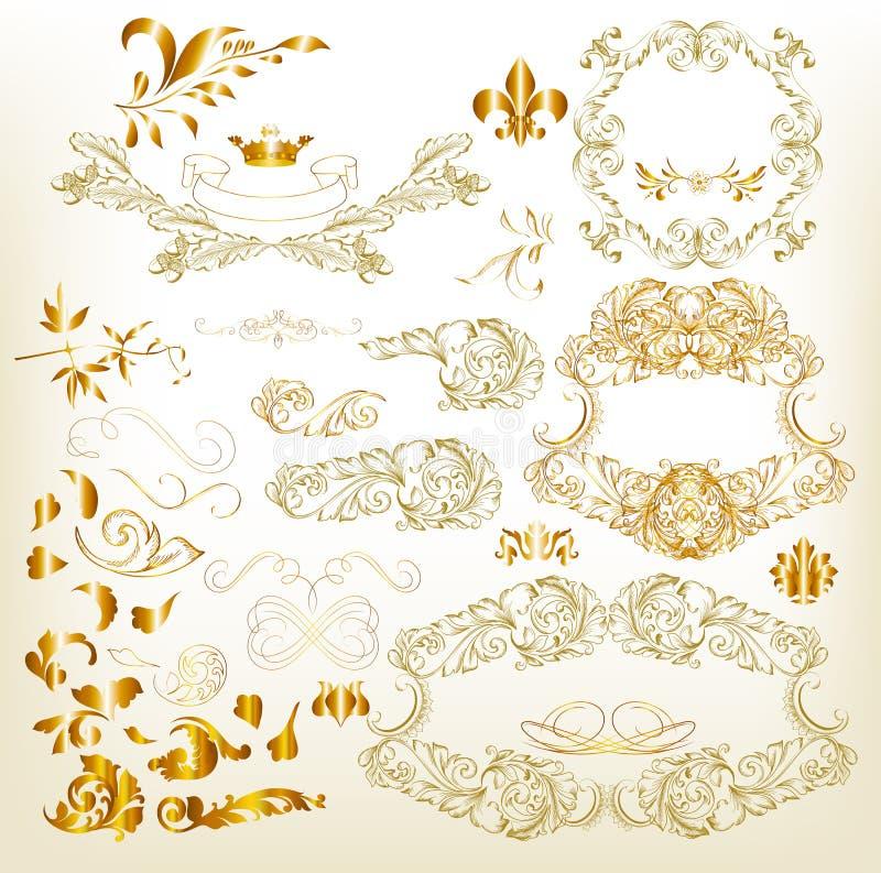 Elementos caligráficos de lujo de oro del diseño stock de ilustración