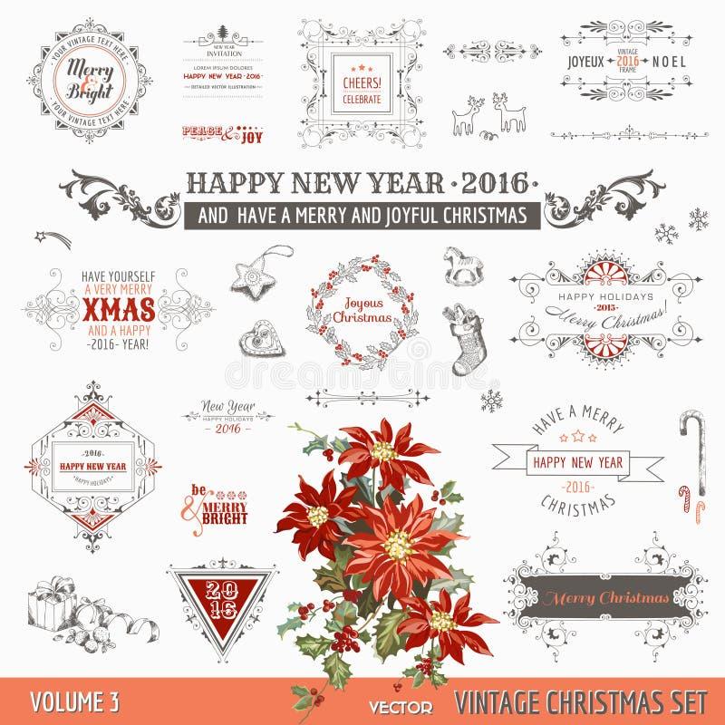 Elementos caligráficos del diseño de la Navidad stock de ilustración