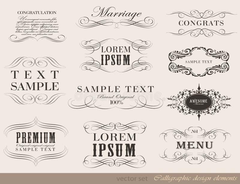 Elementos caligráficos del diseño, decoración de la página libre illustration