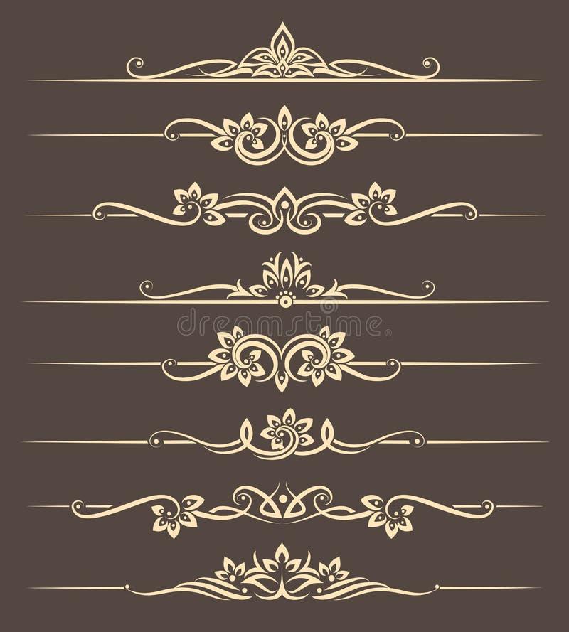 Elementos caligráficos del diseño, divisores de la página con el ornamento tailandés ilustración del vector
