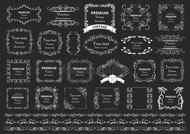 Elementos caligráficos del diseño Los remolinos decorativos o las volutas, vintage enmarcan, los flourishes, las etiquetas y los  ilustración del vector