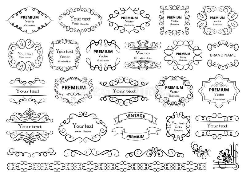Elementos caligráficos del diseño Los remolinos decorativos o las volutas, vintage enmarcan, los flourishes, las etiquetas y los  stock de ilustración