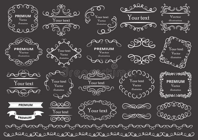 Elementos caligráficos del diseño Los remolinos decorativos o las volutas, vintage enmarcan, los flourishes, las etiquetas y los  libre illustration