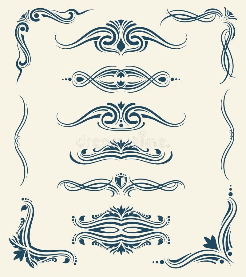 Elementos caligráficos del vector del diseño floral del vintage ilustración del vector