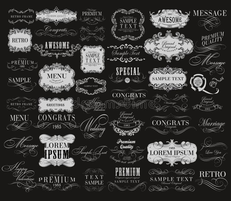 Elementos caligráficos do design floral ilustração royalty free
