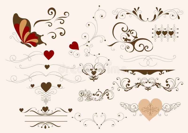 Elementos caligráficos do projeto ilustração royalty free