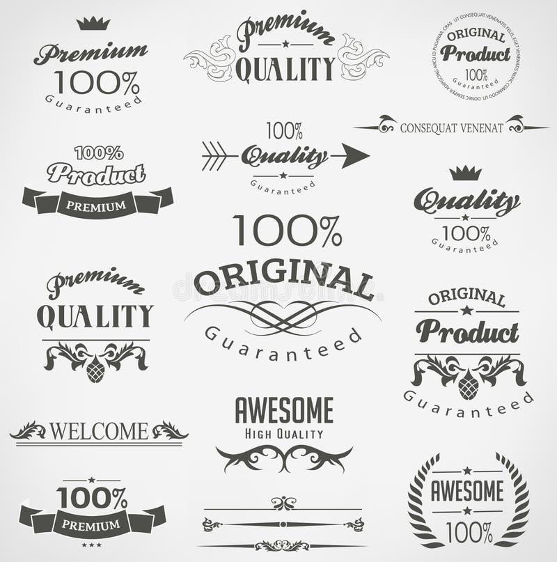 Elementos caligráficos do projeto ilustração stock