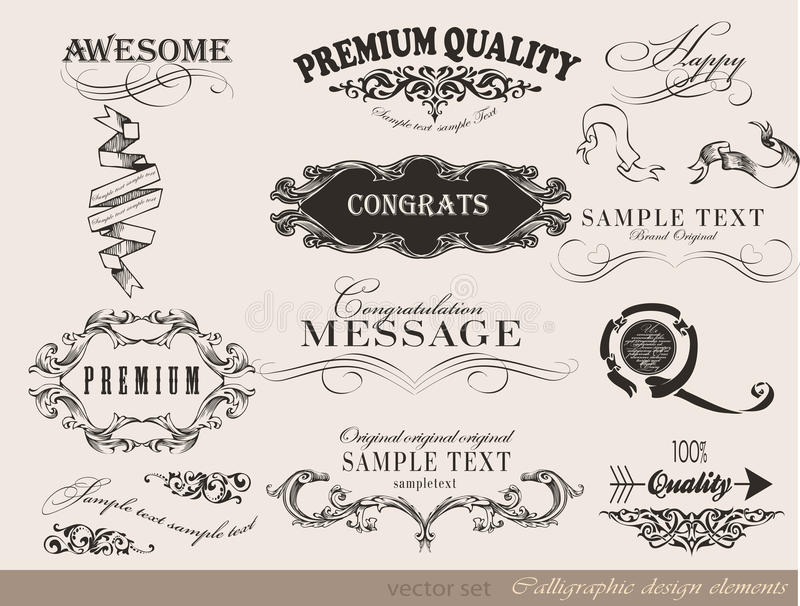 Elementos caligráficos do projeto, decoração da página ilustração stock