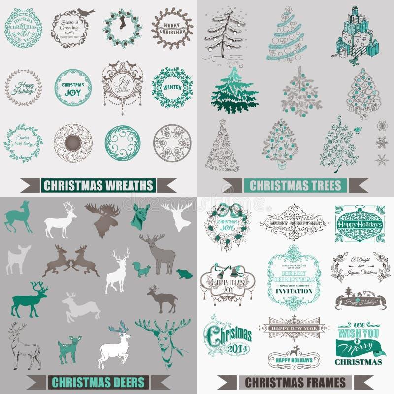 Elementos caligráficos do projeto do Natal ilustração royalty free